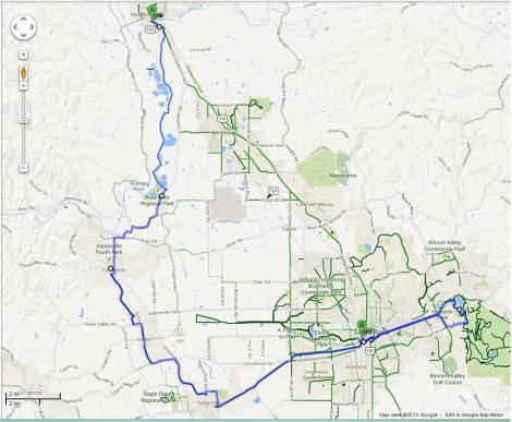 A 40 mile route through train tracks, water, and road ways