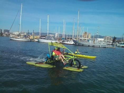 our Amphibious Trike out on the Alameda Estuary during the Elon Musk Challenge..